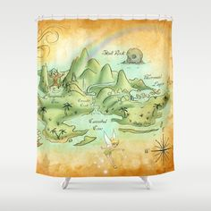 Neverland Map Shower Curtain By Mercedes Jennings