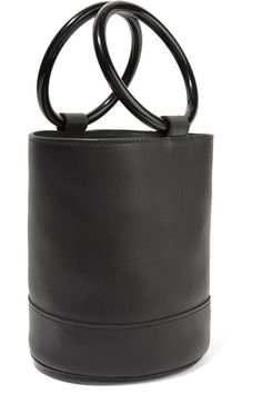 Black leather (Calf) Open top Comes with dust bag Weighs approximately 1.3lbs/ 0.6kg