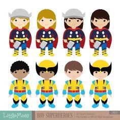 Les garçons Superhero Costumes cliparts 2 garçon par LittleMoss