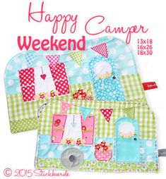 Happy Weekend Camper Mugrug cn or Free Motion Embroidery, Machine Embroidery, Half Square Triangle Quilts, Happy Weekend, Happy Tuesday, Love Sewing, Mini Quilts, Mug Rugs, Hobbies And Crafts