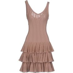 Alaïa Short Dress ($2,900) ❤ liked on Polyvore featuring dresses, skin color, v-neck dresses, ruffle dress, ruffle mini dress, v neck swing dress and short ruffle dress