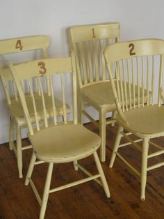 like both the numbers on the chairs as well as the mismatched shapes united by color