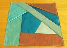 Crazy patchwork square - turquoise