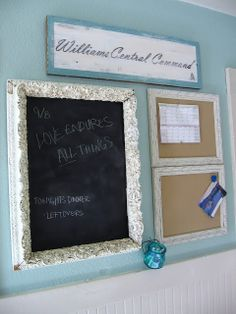Central Command from The Uncluttered Lifestyle- chalkboard paint in a pretty frame