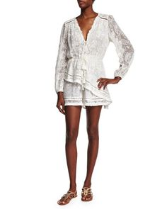 Henna Floating Fringe Short Playsuit by Zimmermann at Neiman Marcus.