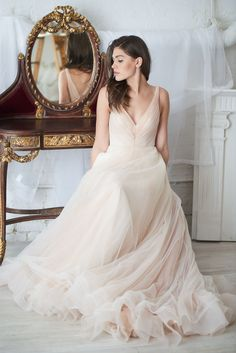Two-tone Tulle Wedding Dresses with Ruching V-neckline sold by NarsBridal. Shop more products from NarsBridal on Storenvy, the home of independent small businesses all over the world. Tulle Wedding, Wedding Gowns, Pink Tulle, Bodice, Neckline, Designer Dresses, One Shoulder Wedding Dress, Ball Gowns, Bridesmaid Dresses