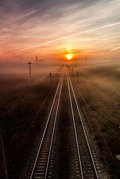 bluepueblo:      Rail Sunset, Romania      photo via hiroshi
