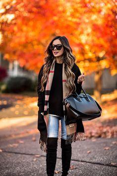 mia mia mine wearing a burberry scarf and a givenchy antigona bag