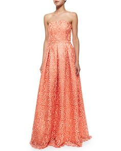 Kamila Strapless Embroidered Scroll Gown  by Alice + Olivia at Neiman Marcus.