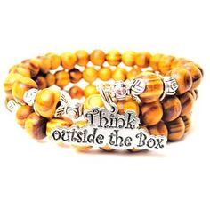 NATURAL WOOD WRAP BANGLE THINK OUTSIDE THE BOX BRACELET - See more at: http://www.chubbychicocharms.com  #Quotes #Think #Trendy #HandMade