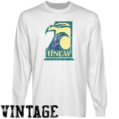 UNC Wilmington Seahawks White Distressed Logo Vintage Long Sleeve T-shirt