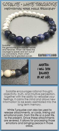 Bracelet yoga mala meditation meaning – mens womens chakra stacks. sodalite white turquoise.