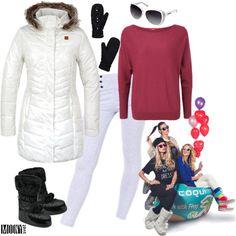 biela-zimná-parka-vzor-čierne-snehule-palčiaky-damsky-sveter