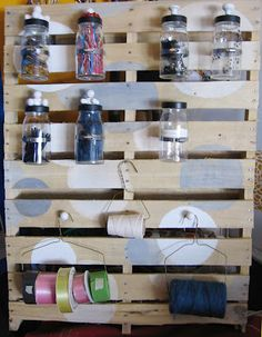 Wood Pallet Wall/Shelf with knobs or hooks--storage