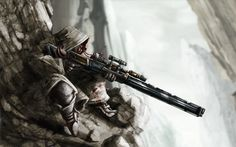 Warrior Fantasy Landsacpe | anime fantasy sniper warrior soldier weapons guns rifle scope ...