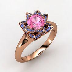 Round Pink Sapphire 14K Rose Gold Ring with Sapphire | Lotus Ring | Gemvara