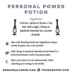 @emma_smallbone posted to Instagram: Make sure you save this one!   This Personal Power Potion is easy to make and will amplify the intentions you set in your daily ritual.    When you create this potion, think about what it is that you want to call into your life.    What does your life look like in an ideal universe -- emotionally, physically, spiritually, romantically?    #witchpotion #witchytools #witchshop #spells #magicspells #castingspells #witchcraftforbeginners #witchcraft101…