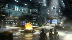 Halo 5 - Infinity Atrium preproduction concept, paint over on modeled scene. Blade Runner, Infinite Art, Spaceship Interior, Alone In The Dark, Halo 5, Futuristic City, Environment Concept Art, Environmental Art, Atrium