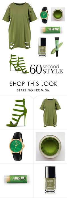 """""""go green"""" by storyofanotherus ❤ liked on Polyvore featuring Boohoo, Gucci, Chanel, L.A. Girl, tshirtdresses and 60secondstyle"""