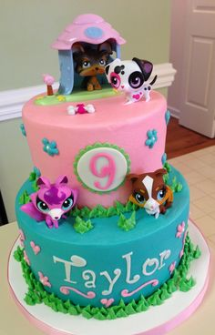 Littlest Pet Shop buttercream cake with toy figures.  This may be the perfect cake for P's bday. Wonder if I could handle this on my own?