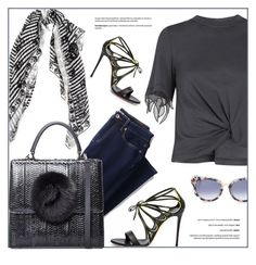 """""""All Black"""" by firstboutique ❤ liked on Polyvore featuring Alexander McQueen, 3.1 Phillip Lim, Lands' End, Les Petits Joueurs and Thierry Lasry"""