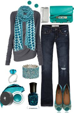 """Grey and Aqua"" by crzrdnk77 ❤ liked on Polyvore"