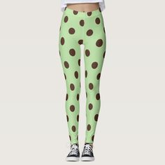 Ad: Get a look at some of these delicious looking leggings and wear a reminder of your favorite ice cream flavor! #mint #chocolate #polka #dot #dots #leggings #legs #comfortable #snug #comfy Polka Dot Leggings, Cute Leggings, Mint Chocolate Chips, Leggings Fashion, Look Cool, Dressmaking, Things That Bounce, Hand Sewing, Snug