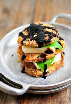 Fried Green Tomatoes Caprese Stacks Recipe | Such a great recipe for summer lunches or family suppers! ©addapinch.com