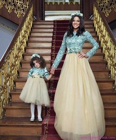 """Look at Mommy and Me on this staircase. Mommy Daughter Dresses, Mother Daughter Dresses Matching, Mother Daughter Fashion, Mom Daughter, Mom And Baby Outfits, Family Outfits, Kids Outfits, Fashion Kids, Kids Lehenga Choli"
