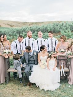 great groom style | grey suit | groomsmen in shirt and tie, no jackets | suspenders |  Style Me Pretty The Vault