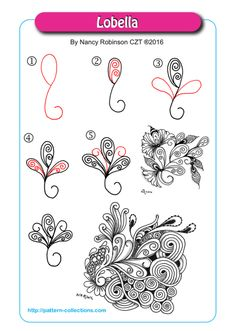 Lobella Tangle, Zentangle Pattern by Nancy Robinson Zentangle Drawings, Doodles Zentangles, Doodle Drawings, Doodle Art, Zen Doodle, Doodle Patterns, Zentangle Patterns, Line Patterns, Zantangle Art
