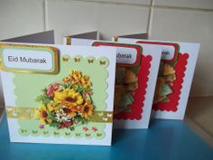 EID MUBARAK CARDS, MUSLIMS EID GREETINGS, PACK OF 3 CARDS & ENVELOPES