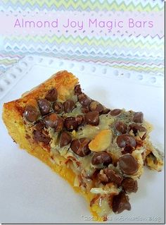 Almond Joy Magic Bars 9x13 yellow cake mix base (or chocolate with ...