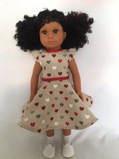Mixed Race/Biracial/Light Brown Doll with Black Curly Hair and Freckles Brown Curly Hair, White Underwear, Daisy Mae, Mixed Race, Heart Print, White Hair, White Shoes, Freckles, Curls