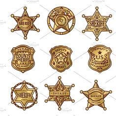 Buy Golden Sheriff Badges by VectorPot on GraphicRiver. Golgen sheriff badges with stars and shields ribbons flourishes laurel on white background isolated vector illustrati. Icon Design, Logo Design, Graphic Design, Pencil Illustration, Business Illustration, Sheriff Badge, Police Badges, Wild West Party, Sheriff