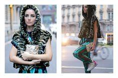 #Laragazzadellafactory wearing our FauxFur FW15 cape.