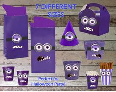 Purple Minions Printable Party for Cups, Hats, Bags, Treat Boxes, Decorations - Digital File