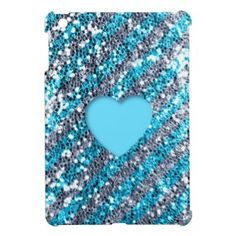 Blue Stripe Glitter Look Heart iPad Mini Cover