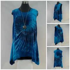 Plus size 2X blue tie dye bamboo sleeveless tank top with flared hemline. by qualicumclothworks on Etsy