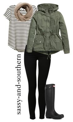 """fall outfit"" by sassy-and-southern ❤️ liked on Polyvore featuring H&M, Noisy May, MANGO and Hunter"