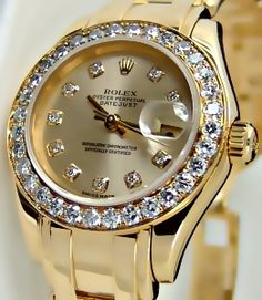 ♛ Rolex 18K/Diamonds ♛ hope my dad sees this so he can give it to me as a gift on my wedding day...hihihi! :)