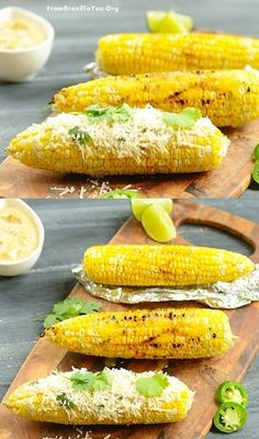 Grilled Corn on the Cob with Jalapeno-Lime Aioli and Parmesan Cheese -- plus TIPS for how to grill corn with aluminum foil (indoors and outdoors). -- Easy and Delish Veggie Recipes, New Recipes, Cooking Recipes, Favorite Recipes, Healthy Recipes, Parmesan, Good Food, Yummy Food, Deserts