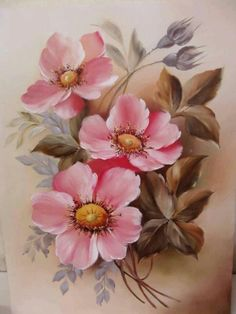 Pin by eileen hedges on eileen hedges art pinturas, dibujos de flores, pint China Painting, Tole Painting, Fabric Painting, Watercolor Flowers, Watercolor Paintings, Art Paintings, Art Floral, Vintage Rosen, Vintage Flowers