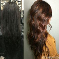 Color correction, before and after, balayage mahogany hair, long hair, hair styles, curls