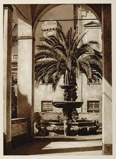 1925 Fountain Palazzo Doria Genoa Genova Genua Italy - ORIGINAL ITALY3
