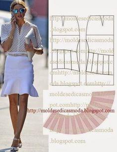 Moldes para hacer faldas con olanes para dama07