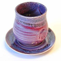 Becher Tee-Becher Kaffee-Becher violett 9cm mit Untertasse