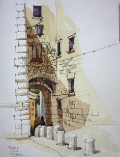 Urban Sketchers: After Barcelona: Girona and the Costa Brava Urban sketches are so cool, I wanna know how to do these. Sketch Painting, Watercolor Sketch, Watercolor Paintings, Watercolor Trees, Watercolor Portraits, Watercolor Landscape, Watercolours, Painting Art, Watercolor Artists