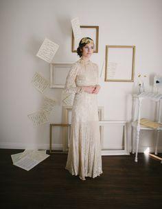 Vintage 1930s Velvet Floral Wedding Dress / by SwoonShopVintage, $324.00