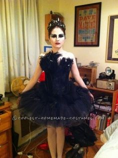The Black swan costume. There were so many of these but I was determined to have it down to a t.  First I got a black tutu and bodice. I danced for ...